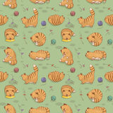 Cat's life. Seamless pattern with red lazy cat Stock Image