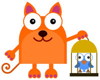 Cat's pet bird Royalty Free Stock Images