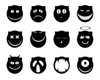 Cat's smiles. Set of monochrome emotion cat's smiles Royalty Free Stock Images