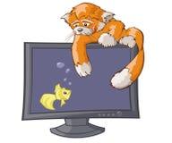 Cat's virtual hunting Royalty Free Stock Photo