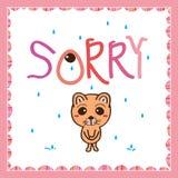 Cat sad sorry not mood. Illustration sad cat sorry not mood white color pink color background vector illustration