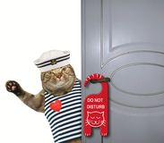 Cat sailor closes the door. The cat sailor closes the door. A sign ` do not disturb ` is hung on the doorknob. White background royalty free stock photo