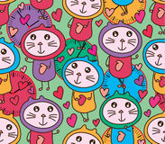 Cat same psychiatric 24 hour seamless pattern Stock Photography