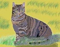 Cat in the Sand Dunes - Digital Art vector illustration