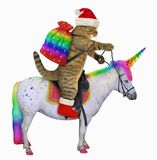 Cat Santa rides the unicorn 3. The cat in the Santa Claus outfit with a bag of Christmas gifts мis riding the real unicorn. White background vector illustration