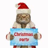 Cat Santa hält das Zeichen stockbilder