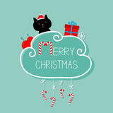Cat in Santa hat, giftbox, snowflake, ball. Merry Christmas card. Hanging Candy Cane. Dash line with bow. Flat design. Blue backgr Stock Images