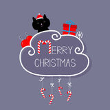 Cat in Santa hat, giftbox, snowflake, ball. Merry Christmas card. Hanging Candy Cane. Dash line with bow. Flat design.  Royalty Free Stock Image