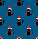 Cat Santa Hat Seamless noire sur le fond de bleu d'indigo Illustration de vecteur Illustration Libre de Droits
