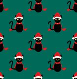 Cat Santa Hat Seamless noire sur Teal Background vert Illustration de vecteur Illustration Stock