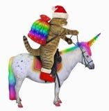 Cat Santa reitet das Einhorn 3 vektor abbildung