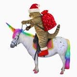 Cat Santa rides the unicorn 2 vector illustration
