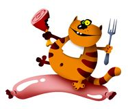 Cat and sausage. Cartoon illustration of a smiling cat with meat and sausage (rasterised version with shadows Stock Photos