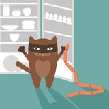 Cat, sausages and refrigerator Royalty Free Stock Images
