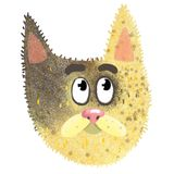Funny face of a brown cat sticker. The cat saw something and watched, it is brown and yellow Stock Photo