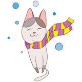 Cat. With a scarf vector  winter Royalty Free Stock Photo