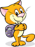 Cat with school bag standing isolated Stock Image
