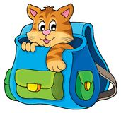 Cat in schoolbag theme image 1 Stock Photography