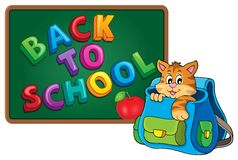 Cat in schoolbag theme image 3 Stock Photos
