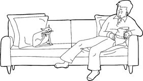 Cat Scratching Himself with Sleeping Man. Outline cartoon of sleeping man and cat on loveseat Royalty Free Stock Photo