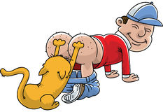 Cat Scratching Itchy Bum. A cartoon man having his itchy bum scratched by his cat Royalty Free Stock Image