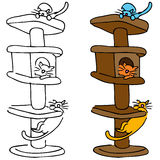 Cat Scratching Post. An image of a cats playing in a tall scratching post tree Stock Photos
