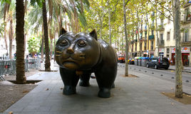 Cat sculpture in Barcelona, Spain Stock Photos