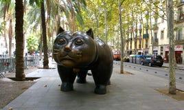 Cat sculpture in Barcelona, Spain Stock Photos