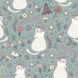 Cat unicorn magic seamless pattern