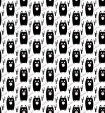 Cat. Seamless pattern. Black s on white background. Vector illustration Royalty Free Stock Photo