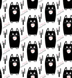 Cats pattern. Cat seamless pattern. Black cats on white background. Vector illustration. For Birthday cards. Anniversary date. Holiday event. Invitation. Fabric Stock Photos