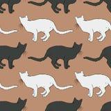 Cat Seamless Pattern blanco y negro Fotos de archivo libres de regalías