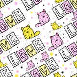 Cat Seamless Pattern linda en estilo del remiendo Imagen de archivo libre de regalías