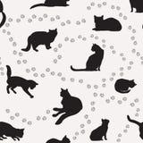 Cat seamless pattern. Pets background. Cat seamless pattern. Pets ornamental background. Flat deign royalty free illustration