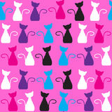 Cat seamless pattern and seamless pattern in swatc Stock Photo