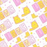 Cat Seamless Pattern sveglia nello stile della rappezzatura Fotografia Stock Libera da Diritti