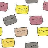 Cat Seamless Pattern Vector disegnata a mano sveglia Immagini Stock Libere da Diritti