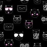 Cat Seamless Pattern Vector Illustration disegnata a mano sveglia Immagine Stock
