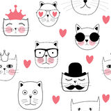 Cat Seamless Pattern Vector Illustration disegnata a mano sveglia Fotografie Stock Libere da Diritti