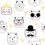 Cat Seamless Pattern Vector Illustration disegnata a mano sveglia Fotografia Stock