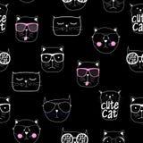 Cat Seamless Pattern Vector Illustration disegnata a mano sveglia Fotografia Stock Libera da Diritti