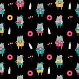 Cat Seamless Pattern Vector Illustration disegnata a mano sveglia Immagini Stock