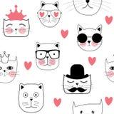 Cat Seamless Pattern Vector Illustration tirée par la main mignonne Photos libres de droits