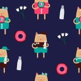 Cat Seamless Pattern Vector Illustration tirée par la main mignonne Photos stock