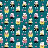 Cat Seamless Pattern Vector Illustration tirée par la main mignonne Photo stock