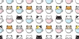Free Cat Seamless Pattern Vector Kitten Coffee Cup Calico Breed Scarf Isolated Cartoon Tile Wallpaper Repeat Background Illustration Pa Stock Photography - 151333882