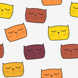 Cat Seamless Pattern Vector tirée par la main mignonne Images libres de droits