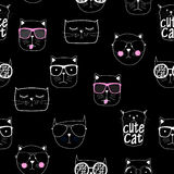 Cat Seamless Pattern Vetora Illustration Handdrawn bonito Fotografia de Stock Royalty Free