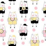 Cat Seamless Pattern Vetora Illustration Handdrawn bonito Fotos de Stock Royalty Free