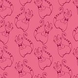 Cat seamless pink pattern. Cat with bow seamless pink pattern. Vector illustration Stock Illustration